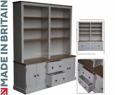Solid Pine Dresser, 7ft x 6ft Handcrafted & White Painted Office Shelving Unit