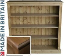Solid Pine Bookcase, 4ft x 4ft Handcrafted & Waxed Display Shelving, Bookshelves