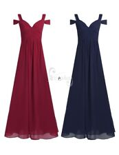 Women Bridesmaid Long Formal Evening Chiffon Dress Cocktail Party Prom Ball Gown