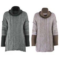 Lady Long Sleeve Knitted Cardigan Slim Sweater Knitwear Casual High Neck Sweater