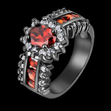 Women Charm Luxury Red Garnet 18K Gold Filled Wedding Rings Gift Size 6-10