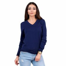 KNITTONS Women's 100% Merino Wool Classic V-Neck Sweater Long Sleeve Pullover