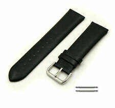 Black Elegant Smooth Genuine Leather Replacement Watch Band Strap Steel Buckle