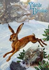 Yule Card - Midwinter Rune Hare by Briar