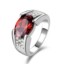HOT Solitaire Red CZ Garnet 10KT Gold Filled Man's  Rings Size 8-12 Jewelry