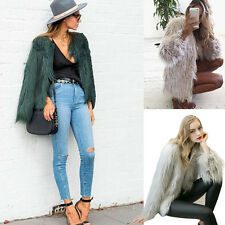 Winter Ladies Womens Warm Solid Faux Fur Fox Zipper Coat Jacket Parka Outerwear