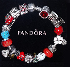 Authentic PANDORA Sterling Silver BRACELET w/ European CHARMs & Beads Christmas