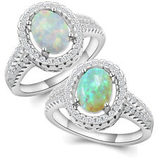 Fashion 925 Silver Plated Round Cut Fire Opal Crystal Wedding Engagement Rings