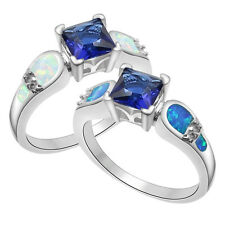 Xmas White Australian Fire Opal Sapphire 925 Silver Plated Ring SIze 6-9