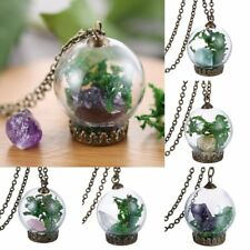 Vintage Bronze Natural Dried Flower Glass Bottle Pendant Necklace Jewellery Gift