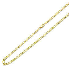 Men Women 14K Yellow Gold Chain 4mm Concaved Figaro Chain Necklace