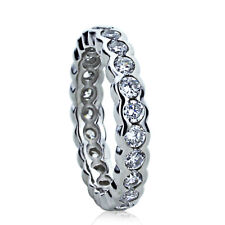 Women Sterling Silver Wedding Ring Round CZ Flat Top Eternity Band