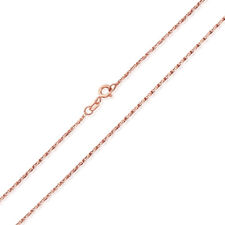 Men Women 14K Rose Gold Chain 1.2mm Fancy Twisted Box Chain Necklace