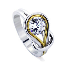Women Silver 1.25ct Round CZ 14K Gold Plated Love Knot Wedding Engagement Ring