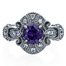 Women Sterling Silver 1ct Round Simulated Amethyst CZ Vintage Cocktail Ring