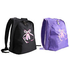Kids Girls Ballet Dance Backpack Zips School Book Toe Shoes Embroidered Tote Bag