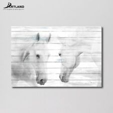 Canvas Print Art ' White Horses ' 24x36-inch Gallery-wrapped Wall Painting