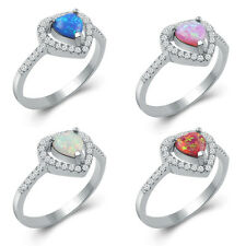 Fashion HEART Blue Fire Opal Wedding Rings 925 Silver Plated Ring Sz 6 7 8 9