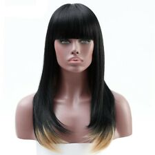 "20"" Synthetic Ombre Synthetic Wigs Straight Neat Bangs Full Wigs For Black Women"