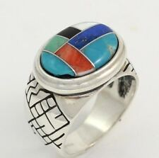Carolyn Pollack Relios Sterling Silver Multi Color Gemstone Inlay Etched Ring
