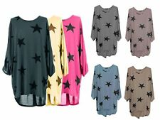 Womens Italian Plus Size Ladies Baggy Sleeved Stars Print Tunic Top Shirt 14-26