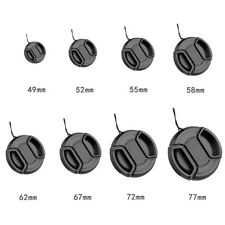 8 Size Center Pinch Snap On Front Lens Cap Cover Fit Canon Nikon Sony & string