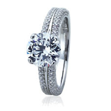 Women Sterling Silver Rhodium Plated 2ct Round CZ Band Solitaire Engagement Ring