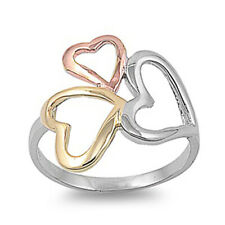 Women Sterling Silver Plain Tri - Color Heart Ring 19mm / Free Gift Box
