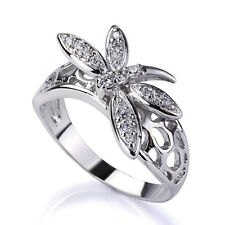 Women Sterling Silver Round Cubic Zirconia Pave Setting Dragonfly Ring 11MM