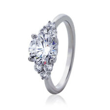 Women Sterling Silver Rhodium Plated 2ct Round CZ Engagement Ring