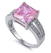 Women Sterling Silver Princess Cut Pink CZ Engagement Ring 11MM / Free Gift Box