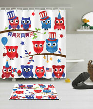"72"" Shower Curtain Bathroom Mat Polyester Waterproof Fabric Lovely Owl Pattern"