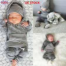Baby Infant Boys Girls Striped Long Sleeve Hoodies Tops+Trousers Pants Suit Set