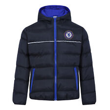 Chelsea FC Official Soccer Gift Boys Quilted Hooded Winter Jacket