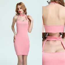 Women sexy solid color sleeveless halter-neck low-cut party night-club dress