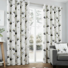 Contemporary Hand Painted Poppy Floral Print Ring Top Curtains, Grey
