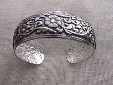 Flower Motive Tibetan Silver Bracelet  Bangle.
