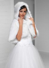 New Womens Girls Wedding faux fur ivory bridal shawl wrap stole Shrug bolero