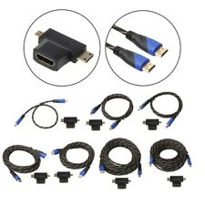 0.5-15M Braided HDMI V1.4 Male To Male Cable+Mini HDMI & Micro HDMI Adapter Kit