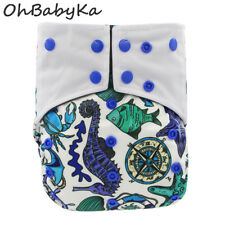 Ohbabyka Reusable Cloth Diaper All-in-one AIO Waterproof Pocket Double Gussets