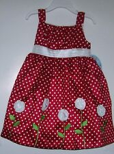 NWTS AMERICAN PRINCESS RED POLKA DOT ROSETTE DRESS 2T, 4T, 5,  NEW!