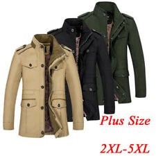 Winter Mens Windbreaker Slim Fit Coat Mock Collar Cotton Jacket Casual Outwear