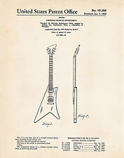 1958 Gibson Moderne Posters Guitar Player Gifts Patent Wall Art Print McCarty