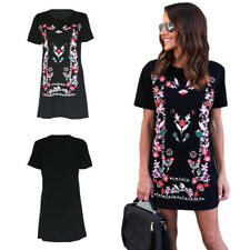 Long Tops Hot T-Shirt Printed Summer Mini Dress Womens Loose Crew Neck USGO