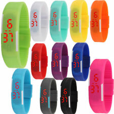 LED Watches Red Date Digital Wrist Watch Hot Mens Time Rubber Womens Wristband