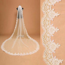 Elegant White/Ivory 1 Tier Lace Edge Cathedral Bridal Wedding Veil With Comb