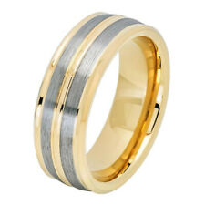 Men 8MM Comfort Fit Carbide Wedding Band Pinstripe Gold Tone Tungsten Ring