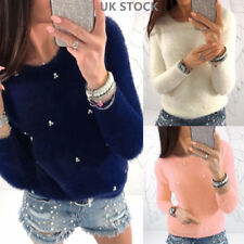 Women Long Sleeve Beaded Plain Pullover Jumpers Casual Shirt Ladies Sweater Tops