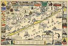Midcentury Historical Map Romantic Island of Long Beach, New Jersey Wall Poster