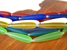 """PICK COLOR 8"""" 32mm long DROP teardrop sea beach glass beads frosted recycled"""
